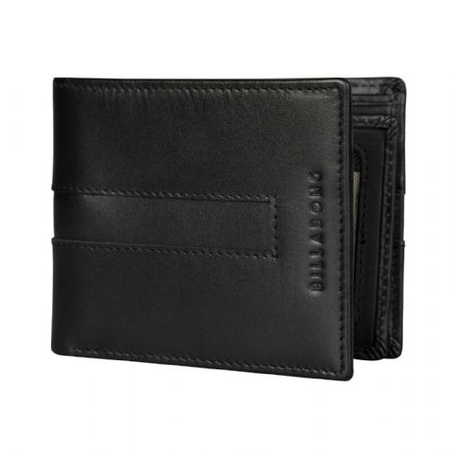 REDUCED.BILLABONG MENS REAL LEATHER WALLET.EMPIRE BIFOLD BLACK MONEY PURSE S20F
